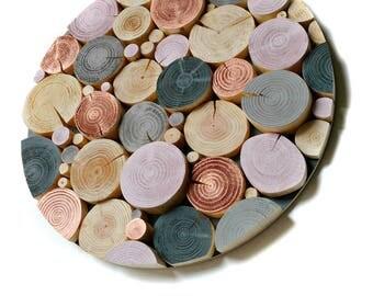 Circular LOG MOSAIC Wall Art - Picture - Artwork - Feature - wood slices - metallic  - Copper - Grey - Blush Pink - unique - modern