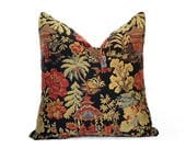 Oriental Pillow, Asian Pillow, Black Pillow, Chinoiserie Pillows, Chinese Pillow, Pillow Covers,  Luxury, Red, Sage, Pagoda, 12x18, 18, 20