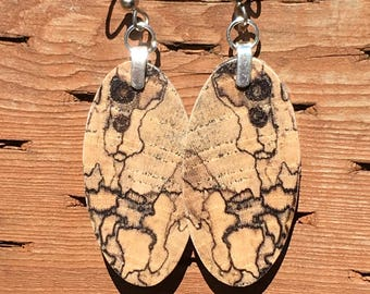 Earrings Made From Spalted Hackberry Wood Light As Feather
