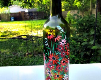 Incense Burner, Smoking Bottle, Recycled Green Bottle, Incense Holder, Hand Painted, Shades of Red Flowers, Glass Art