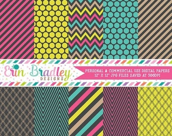 80% OFF SALE Pop of Color Digital Paper Pack Set Neon Pink Blue and Yellow Stripes Chevron and Polka Dotted Patterns Instant Download