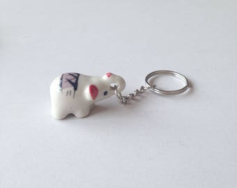 Miniature Elephant, ceramic elephant, ceramic animal, miniature animal, purple elephant, mini, little, tiny, elephant figure, keychain