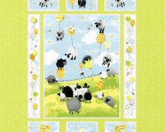 Children's Fabric, Blue Lewes Balloons Cotton Fabric Panel by Susybee 36 x 44 inches