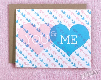 Valentines Day - Letterpress Love Greeting Card -  You & Me (single)