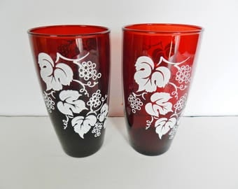 Anchor Hocking Ruby Glasses, Ruby Grape Vine Beverage Glasses, 1950 Red Glasses, Ruby Tumblers