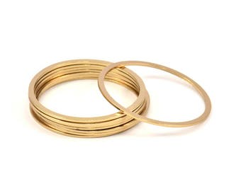 Circle Connector, 5 Gold Plated Brass Circle Connectors (40x2x1mm) Bs 1326