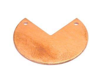 Pacman Copper Blank, 10 Raw Copper Stamping Blank Pendants With 2 Holes (30x25x0.80mm) D528