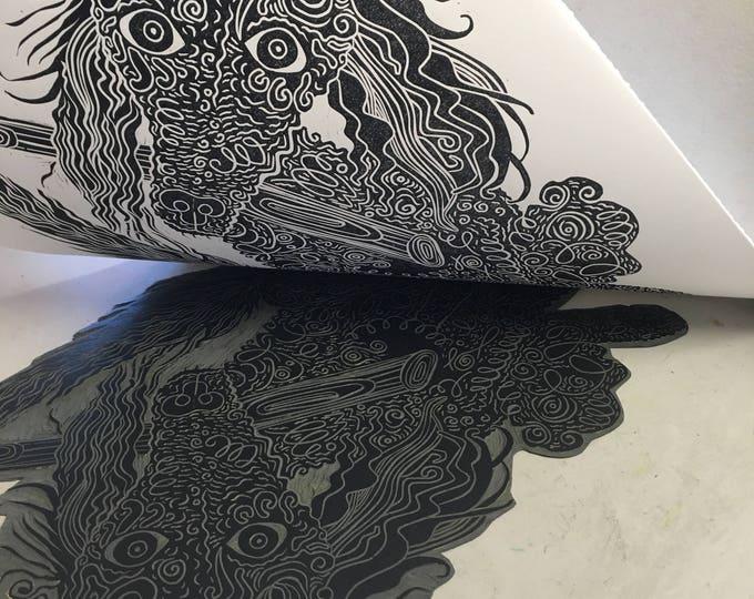 Poodle, black and white, Dog art, woodcut print, block print, original art by Jenny Pope