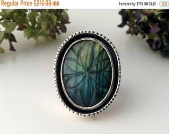 flower ring-labradorite ring-sterling silver-blue labradorite-carved labradorite-artisan ring-size 7.5- bohemian ring-flower jewelry