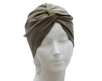 Turban Beanie Hat Fall Fashion Accessory 1940s Fashion Slouchy Beret Knit Turban Hat Soft Knit Turban Taupe Turban Chemo Hat Fall Hat