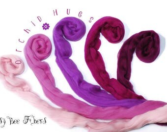 ORCHID HUES -  From Pink to Merlot - Merino Wool Roving Combed Top 5 colors gradient Spinning Wool - 4 oz
