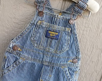 Childrens Retro Denim Blue Stripe OshKosh Overalls Size 6 mos.
