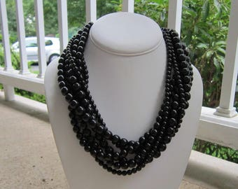 Chunky Black Necklace, Large Black Necklace, Black Statement Necklace, Multistrand Black Necklace, Black Jewelry, Bridesmaids Gifts, Night