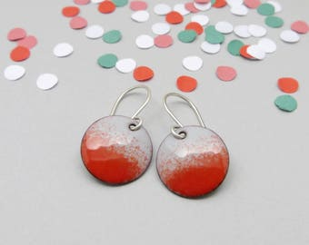 Red Earrings - Small Red Dangle Earrings - Red and Gray Enamel Earrings - Gift for Girlfriend
