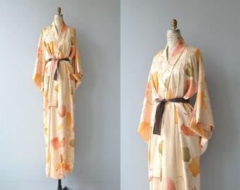Masukumeron silk kimono | vintage 1950s kimono | floral silk 50s kimono