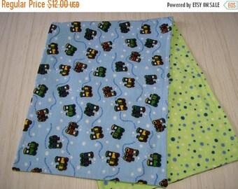 SALE Burp Cloth Gift Set of 3 Flannel Choo Choo Trains on Blue Larger Size