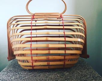 Vintage Japanese bamboo crab catcher basket handbag purse