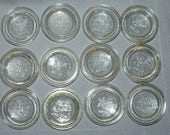 12 Vintage Ball No. 10 Glass Canning Jar Tops Lid Inserts Regular Mouth Concave Clear