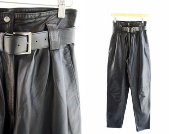 Vintage 90's Wilson's Leather Black Leather High Waist Woman's Paper Bag Tapered Leg Pants