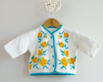Little Girl's 1960s Fleece Floral Jacket • Size 18-24mo