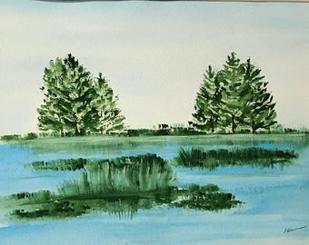 River Landscape Watercolor Painting
