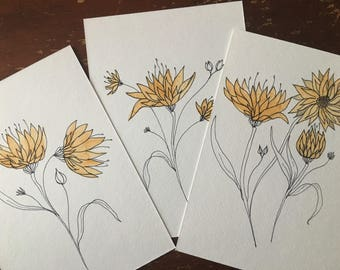 Set of 3 Yellow Watercolor Flower
