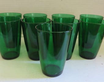 Vintage Anchor Hocking Forest Green Drink/Tumbler Glasses set of 9