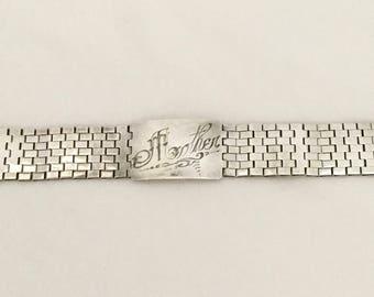 """Vintage/Antique Sterling Silver Engraved """"Mother"""" Link Bracelet"""