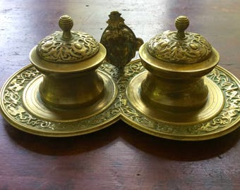 Vintage Figural Brass Double Inkwell