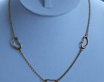 """On sale Delicate Vintage Gold tone Heart Necklace, 17"""", """"Sarah Coventry"""" (AK2)"""