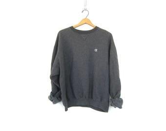 Gray Champion Sweatshirt Sports Sweatshirt Logo Emblem Cotton Crewneck Slouchy Worn In Boyfriend Sweateshirt Pullover Size Large