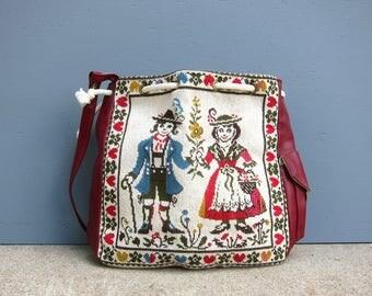Tapestry Purse Red West Germany Lederhosen Handbag Sewing Craft Bag Retro Hipster Purse Boho Bohemian Drawstring Purse