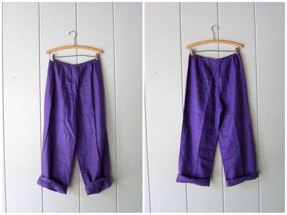 Minimal LINEN Trousers Purple Wide Leg Pants Loose Fit Pants Elastic Waist Trousers Minimal Resort Vacation Wear Womens Large Medium size 8