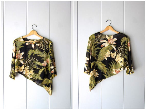 Sheer Floral Blouse Cropped Asymmetrical Safari Top Short Sleeve Tropical Blouse 90s Leaf Print Top Vintage Resort Wear Womens Small Medium