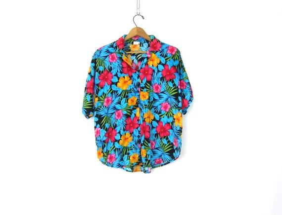 Blue Tropical Top Vintage 80s Flower Print Rayon Shirt Button Up  TShirt Short Sleeve Tee 1980s Resort Shirt Womens Medium