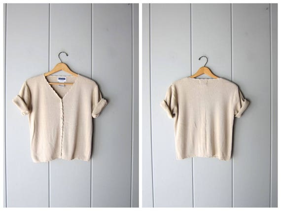 Vintage 90s Knit Top  Beige Ribbed Sweater Top Short Sleeve Minimal Knit Button Up Preppy Modern Basic Knit Tee Blouse Womens Small Medium