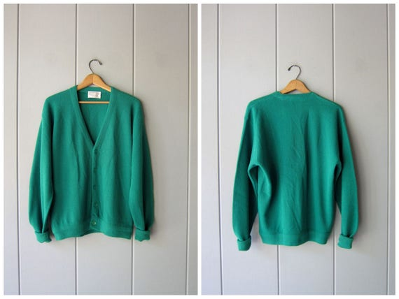70s Cobain Cardigan Sweater Emerald Green Button Up Boyfriend Sweater Preppy Hipster Fall Slouchy Knit Grunge Vintage 1970s Mens Large