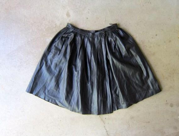 Leather Wrap Skirt Dark Brown Leather Mini Skirt Neil Barrett Pleated Skirt High Waist Modern 90s High Fashion Skirt Womens Medium Large