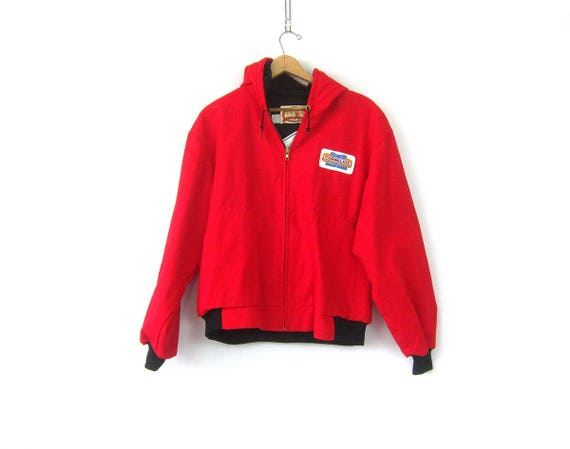 Red Farmers Chore jacket Cornelius Seed Corn Patch Zipper Down AG Coat Urban Hipster Street Hooded Coat Men's Size XL