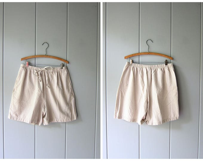 Drawstring Board Shorts 90s Elastic Waist Thin Cotton Shorts Minimal Checkered Beige Shorts MOM Shorts Pockets Beach Shorts Women Large