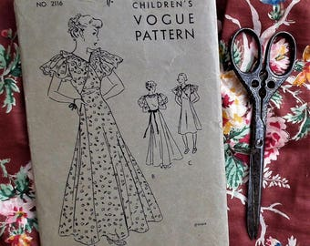 "Original vintage 1930s VOGUE sewing pattern girl's party dress 30s Children's Vogue Pattern no. 2116 1936 - S Small 32"" bust - petite woman"