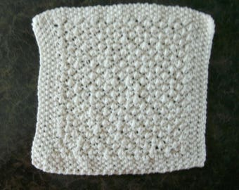 Hand Knit Dishcloth - measures approximately 9x9 inches - Color is called Soft Ecru