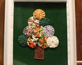 Yo-Yo Christmas Tree Re Purposed Wooden Picture Frame Christmas Tree Wall Hanging Scrappy Yo Yo Tree