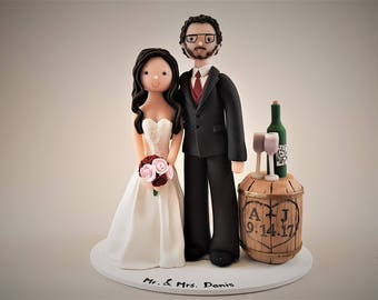 Unique Cake Toppers - Bride & Groom Customized Wine Theme Wedding Cake Topper