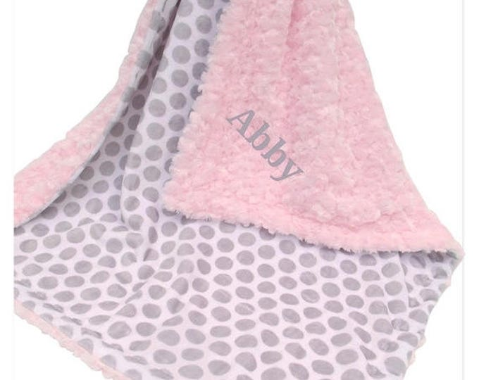 SALE Soft Pink Rose Swirl and Gray Mod Dot Print Minky Baby Blanket,  Can Be Personalized