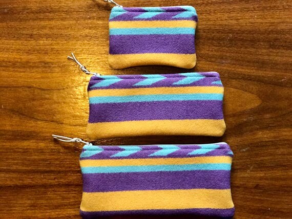 Gift Set of 3 XL / Organizer Set / Travel Set Wool Purple & Yellow