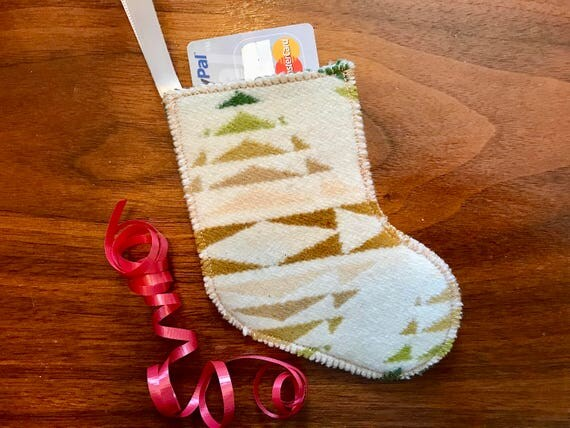 Christmas Stocking Ornament / Gift Tag / Gift Card Holder / Money Holder Wool Green Pecos