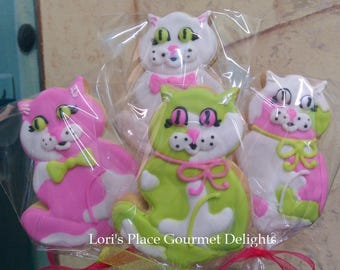 Cat Cookies - Cat Cookie Pops - 12 Cookie Pops