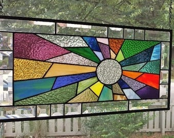 RADIANT BEAMS Stained Glass Window Panel  (Signed and Dated)