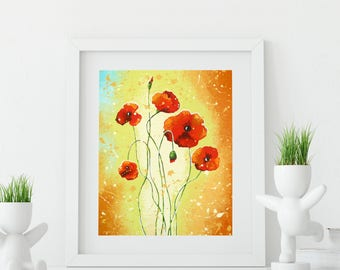 Red Poppy Art Print Wall Decor, Flower Art Wall Decor, Red Poppies Wall Art Bedroom Decor, Red Flowers Nature Art